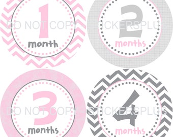 Monthly Baby Milestone Stickers Baby Girl Pink Grey Gray Chevron Dots Bodysuit Baby Stickers Monthly Baby Stickers Baby Month Sticker