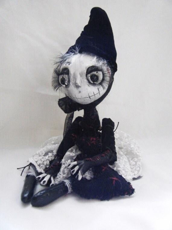 Handmade Gothic Harajuku Fashion W H Naoto Spiderweb Bag: Handmade Gothic Ooak Creepy Gothic Rag Art Doll Silly