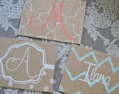 Burlap Chevron Polka Dot Patterned Canvas Panel Monogram Initial Handpainted Art Wall Decor Baby Kids & For the Home