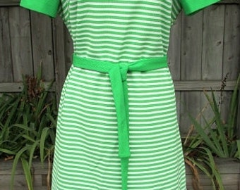 vintage 70s green white striped dress b40 honeycomb bee original preppy secretary