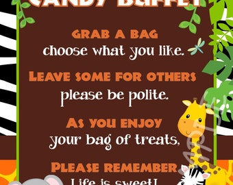 Custom Baby Jungle Safari Candy Buffet Sign - Instant Download