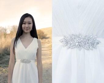 KEIRA - Rhinestone Beaded Bridal Sash, Wedding Belt, Headband