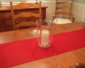 "Red Burlap Table Runner 14"" Wide Christmas Table Runner Rustic Table Settings Choose Your Length"