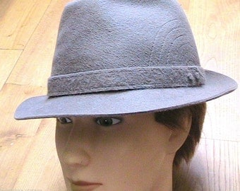 1950s Men Stitched Gray Fedora Hat - Snap Brim - MADE IN ITALY - New & Tag - L - 7.1/4