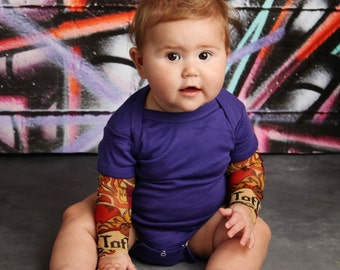 TotTude Tattoo Sleeve Purple Bodysuit Shirt