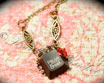 Repurposed Computer Key Necklace, Geek Girl Necklace, Upcycled Keyboard Necklace, Pause Break Necklace, Red Rose Steampunk