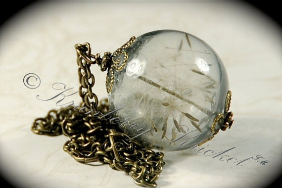 Dandelion Seed Necklace Sealed Bead Make a Wish Tinted Glass Orb Globe Necklace, Midnight Wish