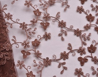 Chesnut Brown Lace Fabric, Brown Floral Lace Fabric, Auburn, Loops and Twine Flowered Lace