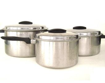 Ekco Flint Cookware Dutch Oven 8 Qt Pots Pans Stainless Radiant Heat Core Arrowhead