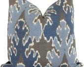 Indigo Blue Ikat Pillow Cover Kelly Wearstler  Square, Euro or Lumbar Pillow, Lee Jofa Bengal Bazaar, Throw Pillow, Accent Pillow