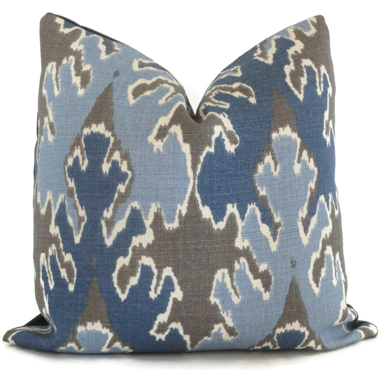 indigo blue ikat pillow cover lee jofa square euro or lumbar - 🔎zoom
