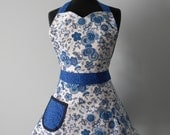Womens Apron-Blue & White Floral Full Sweetheart Apron