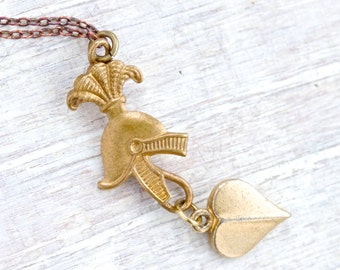 My Knight in Shinny Armour - British Military Helmet Necklace - Tiny Brass Pendants on Chain