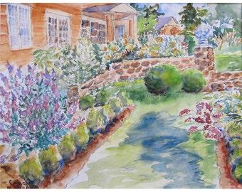 Bamboo Brook Garden in NJ, an original watercolor