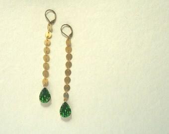 Coin Chain and Swarovski Crystal Earrings, Long Earrings, Unique Earrings, Fern Green Crystal, Gold Earrings, Glittery Earrings