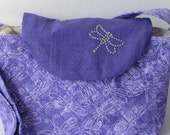 Embroider quilt purse in purple with dragonflies