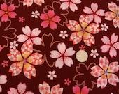 Japanese cherry blossom fabric on burgundy with glitter by Kona Bay - Sakura Collection (1 yard)
