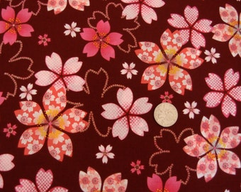 Japanese cherry blossom fabric on burgundy with glitter by Kona Bay - Sakura Collection (1 yard)