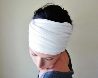 WHITE Hair wrap - Extra Wide Jersey Head Scarf - Lightweight Workout Accessory - White Yoga Headband - EcoShag Hair Accessories
