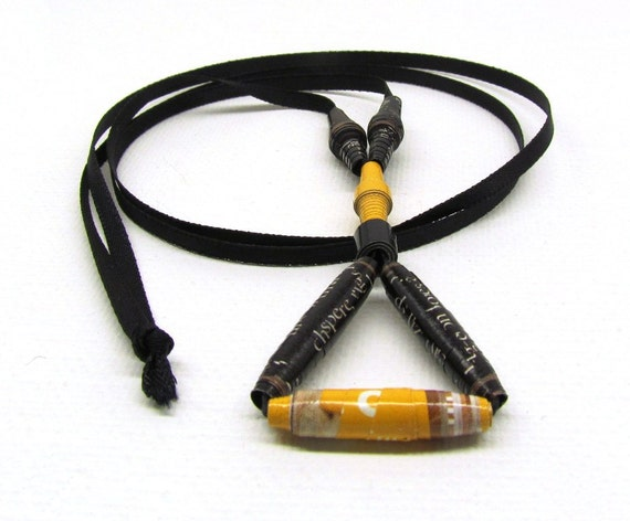 Mustard and Black  Paper Bead Necklace Geometric Eco Friendly Jewelry Triangular Minimal Necklace