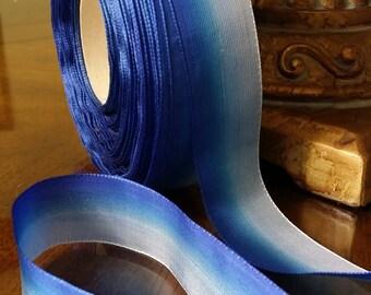 "1""  Vintage France Woven Rayon Ombre Ribbon trim: Blue Palette #502"