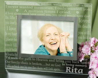 personalized in loving memory picture frames memories are golden glass memorial photo frame