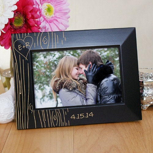 Couples Gift Ideas For Home: Engraved Couples Tree Carving Black Frame Relationship Gift