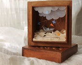 "Shadow box ""The sea in my heart"" made with antique paper in a vintage wooden box carved. Free shipping"
