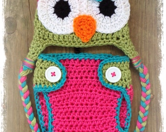 Newborn Baby Girl Crochet Green Pink Blue OWL Diaper Cover n Beanie Hat Set Braids Daisy Pigtails Button -- Great Photo Prop