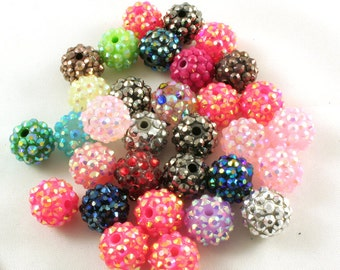 Mixed Bubble Gum Resin 14MM round beads for your charm jewelry art project destash diy (RPB1004)- 10 beads