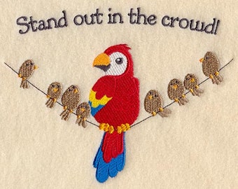 Stand Out in the Crowd Parrot Pride Macaw Embroidered Flour Sack Hand/Dish Towel