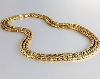 Gold Mesh Necklace, Three strand Art Deco chain necklace, Antique Gold jewelry