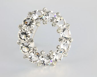 Sterling Crystal Brooch jewelry, Wreath Brooch, Open Back Swarovski crystal, vintage Wedding fashion
