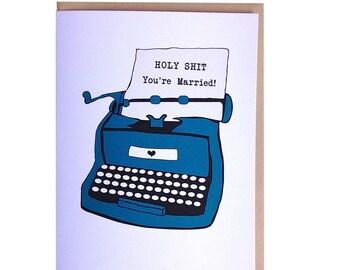 Funny wedding card, typwriter greeting card, unique wedding card, hand drawn original illustration card