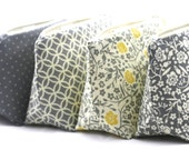 Six Gray Makeup Bag Bridesmaid Gifts: Cosmetic Bags, Bulk Order Pricing, Custom Wedding Colors, Wedding Favor, Clutch, Makeup Bags Bulk