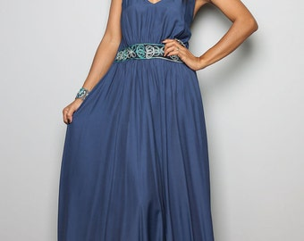 Blue Maxi dress - Long Elegant Navy Blue Halter Dress  : Oriental Princess Collection