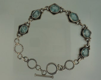 Faceted Aquamarine and Sterling Silver Bracelet