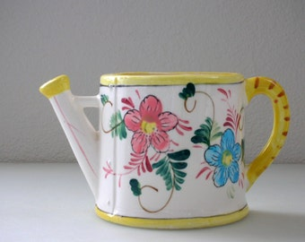 Grant Crest Water Can Wall Pocket Hand Painted Watering Can Garden Decor Floral Garden Flower Pottery from The Back Part of the Basement