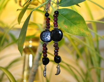 CLEARANCE Witch y Garnet Earrings Beaded w Black Glass Silver Moons Hypoallergenic Shepherd Hooks Goth Gothic Pagan