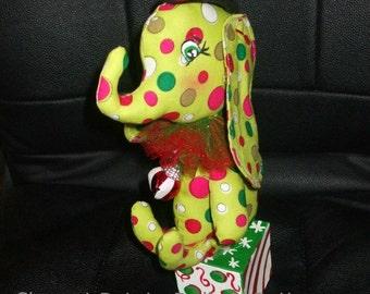 Christmas Circus Elephant on Box Art Doll Toy