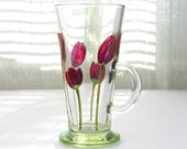 Hand Painted Glass Mug, Purple Tulips Design,  Coffee Mug, Tea Mug, Latte Mug, Painted Glass Mug, Tulips Mug, Glass Mug, Floral Glass Cup