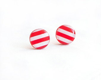 Striped stud earrings, bright jewelry, red white earrings studs