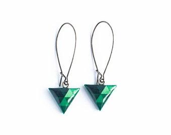 Emerald green earrings, triangle dangle earings