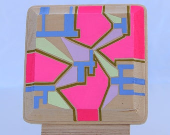 Assemble the Pieces, Original Painting, One of a Kind Gift, Neon Pink, Small Works, Easel