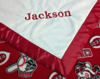 Personalized Cincinnati Reds Baseball Fleece and Minky Baby Blanket