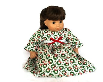 Christmas Doll Nightie Pajamas Nightgown Red White Green 3 Piece Set Panties Blanket Bitty Twin 14 to 16 in Baby Doll -US Shipping Included