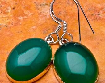 Natural Green Onyx 925 Sterling Silver earrings (#J496)