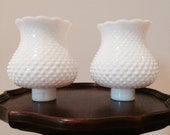 Vintage Pair Milk Glass Hobnail Light Shade Lamp Covers Sconce