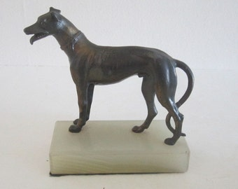 Brass Bronze Whippet Greyhounds on Onyx Base - Art Deco Bookends