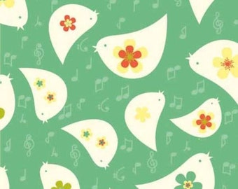 SALE - Tweet Green All Over Birds by Emily Hayes from Newcastle Fabrics, LLC